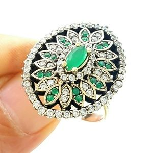 Turkish Ottoman Traditional .925 EMERALD RING SZ10